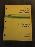 John Deere 111 Hydrostatic Lawn Tractor Operators Manual
