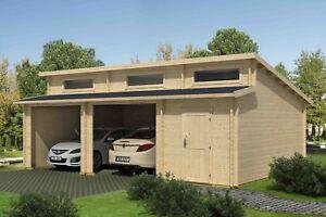 Details zu 44 mm Holzgarage Hawaii ca 540x800 cm ohne Tor Garage Schuppen  Carport Holz