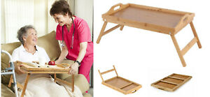 TWO-Bamboo-Wooden-Bed-Tray-w-Folding-Legs-Serving-Breakfast-Lap-Tray-Table-OZ