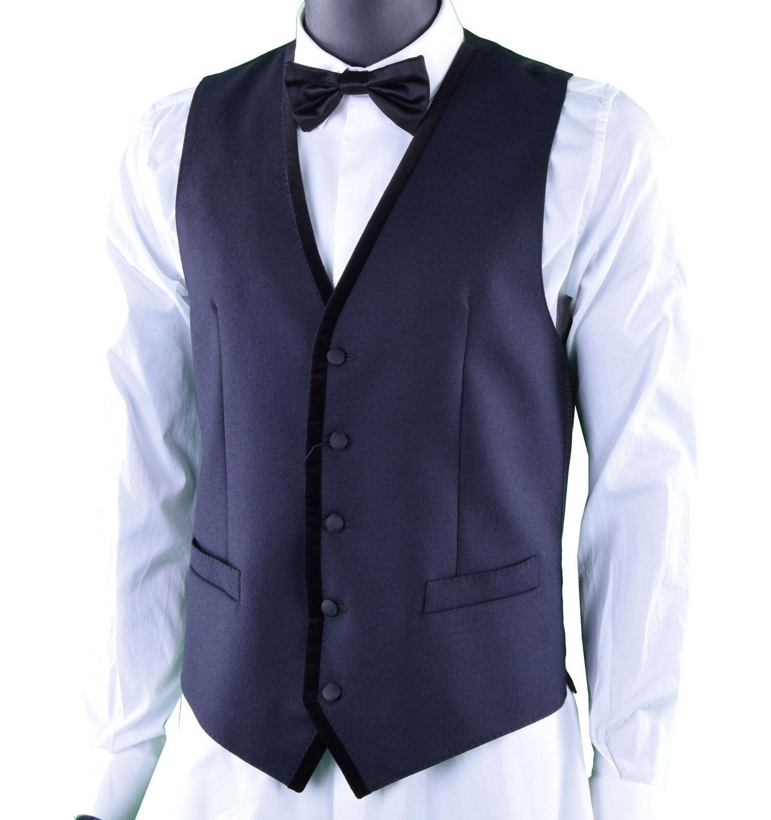 DOLCE & GABBANA RUNWAY Weste Wolle Blau Wool Waistcoat Vest Blau 03736