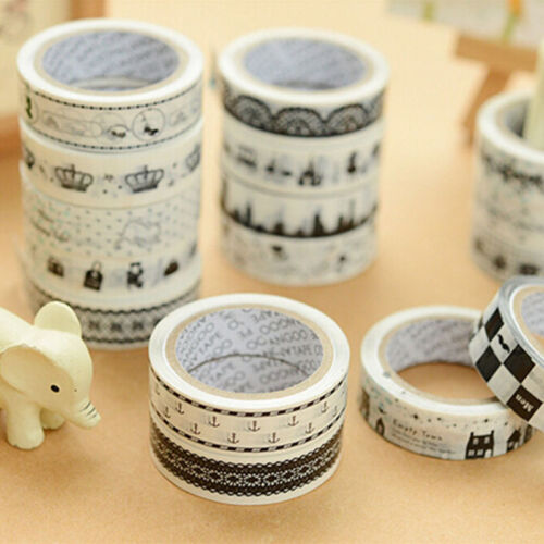 Top Sale 5Pcs Adhesive Masking Decorative Tape Stationery Scrapbooking Sticker