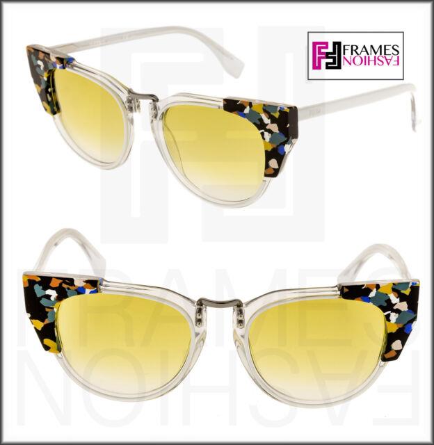 583d60df0a5e FENDI GALASSIA MARBLE FF0074S White Crystal Yellow Cat Eye Sunglasses 0074  Women
