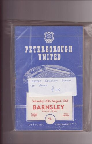 PETERBOROUGH UNITED 196263 COMPLETE SEASON OF HOMES INC FRIENDLYS ECT