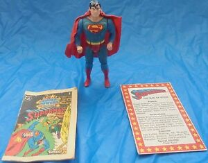 Dc Super Powers Superman Figurine complète Cape File Card Comic Kenner 1984