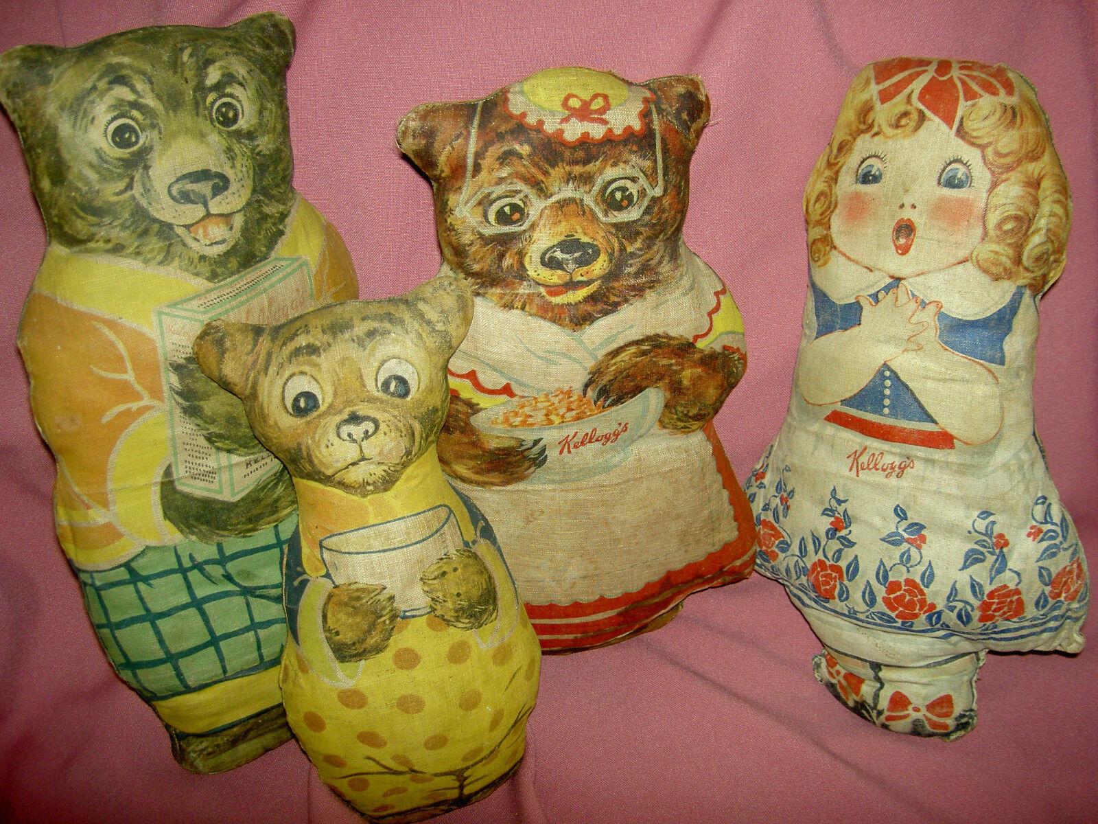 Conjunto de 4 Antiguo, Kellogg's,  oroilocks & tres osos , muñecas de trapo de publicidad