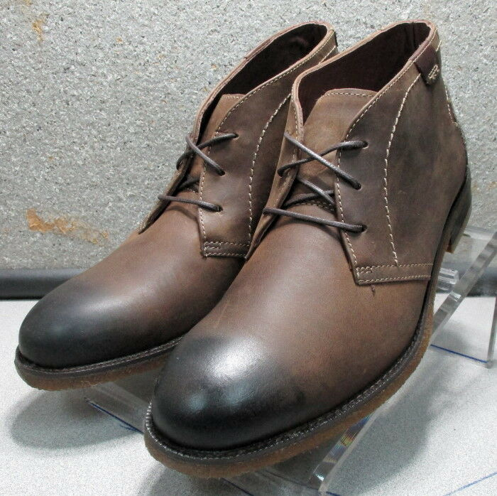 251190 MSBT50 Men's shoes 10 M Brown Leather Lace Up Boots Johnston & Murphy