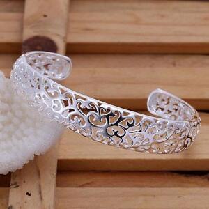 Pretty-925-Silver-lady-nice-Fashion-Woman-Cuff-cute-hollow-Bangle-Bracelet-B144