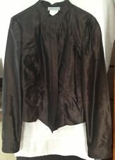 René Lezard Jacket Coat 100% Silk Brown Size 38 Womens