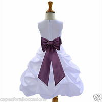 WHITE PICK UP FLOWER GIRL DRESS EASTER COMMUNION QUINCEANERA 2 4 6 8 10 12 14 16