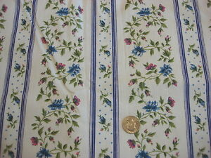 Vintage-Cotton-Decorator-Fabric-BLUE-amp-PINK-FLORAL-STRIPE-PURPLE-STRIPES-1-Yd