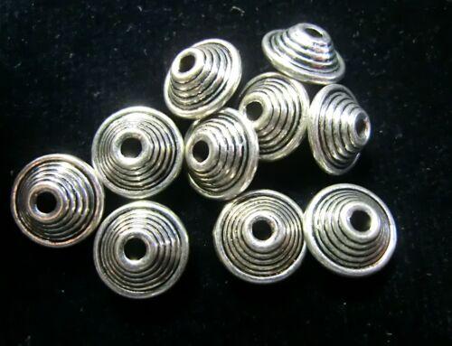 10 Metallperlen Spacer 10x6mm Rondell Farbe antiksilber #S013
