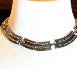Vintage-Silver-Tone-Choker-Link-Necklace