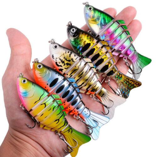 6ps 7 Segment Multi Jointed Fishing Plastic Swimbait Crankbait Treble Hook Bait