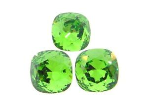 Swarovski-Square-Cushion-Cut-Stones-Art-4470-10mm-Fern-Green-3-Pieces-cc