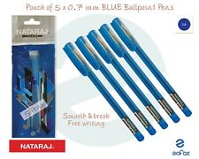 5 x 0.7mm NATARAJ Florite BLUE Ballpoint Pens Hi-Tech Tip Smooth Good Writing