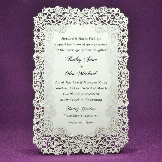 Rose Vine Laser Cut Wedding Invitations, pack of 25 -  Ivory or White Color