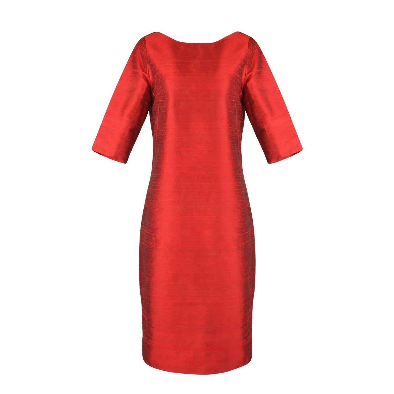 Kleid aus 100% Seide, Ann-K. Design, Größe DE 42, neu, red, Seidenkleid, midi