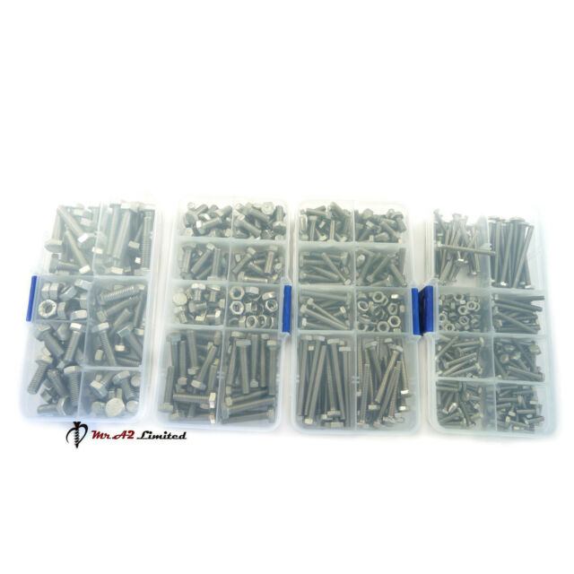 Kit Set M3 M4 M5 M6  Assorted A2 Stainless Steel Hexagon Hex Set Bolt & Nuts