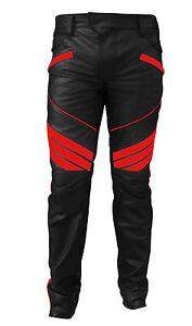 Hombre-Moto-Motero-Sexy-Autentico-Negro-y-Rojo-Pantalones-Cuero