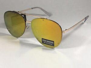 a39565458bf New Steve Madden Rimless Aviator Sunglasses Gold Pink Orange Mirror ...