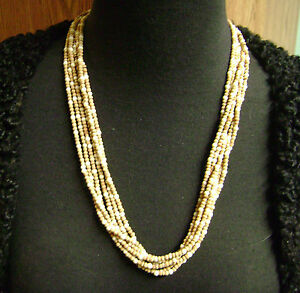 """VINTAGE 6 STRAND TAN/LT. BROWN  SEED BEADED 22.5"""" LONG  NECKLACE"""