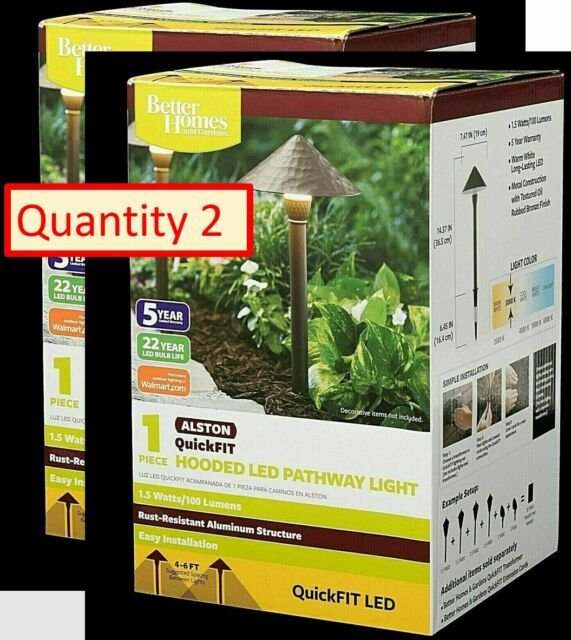 Details about  /Better Homes /& Gardens QuickFIT LED Alston Hooded Pathway Light New in Box