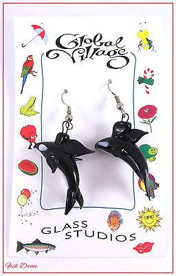 GLOBAL VILLAGE GLASS STUDIOS. BLACK & WHITE ORCA KILLER WHALE EARRINGS.