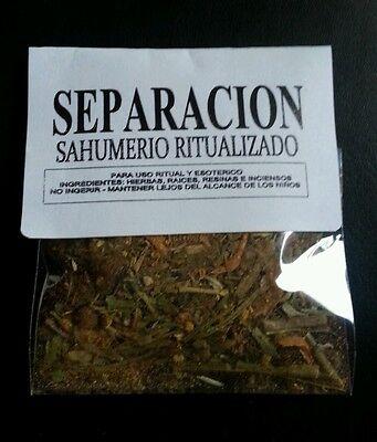 LOTE X 3 ☆ SEPARACION ☆ SAHUMERIO RITUALIZADO ☆HERBAL INCENSE RITUALICED ☆