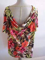 Jules & Leopold Woman Multi Color Tropical Print Cowl Neckline W/chain