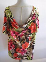 Jules & Leopold Woman Multi Color Tropical Print Cowl Neckline W/chain