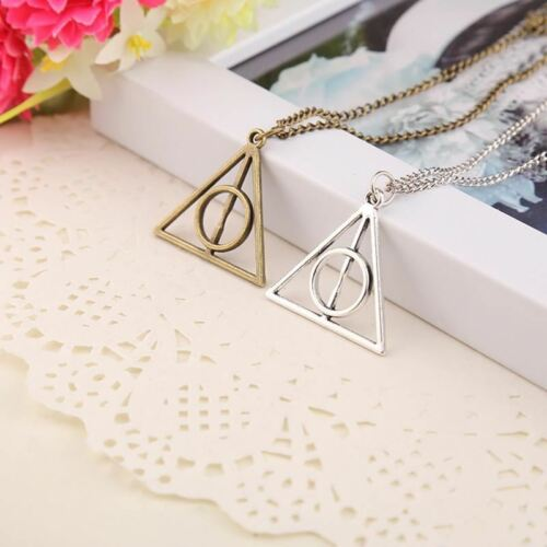 Antique Triangle Pendant long Chain Necklace Gift For Men and Women