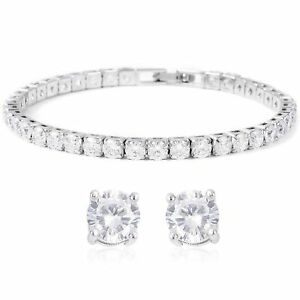 "Cubic Zirconia CZ Stud Solitaire Earrings Tennis Bracelet 7"" Bridal Set"