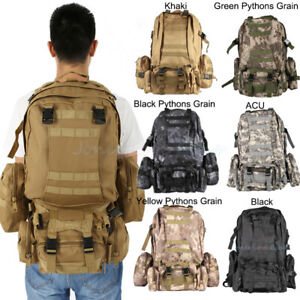 3313fb80e48a Details about 55L Large Molle Outdoor Military Tactical Bag Camping Hiking  Trekking Backpack