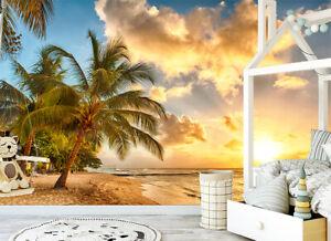 Detalles Acerca De Sunset Palm Tree Beach Autoadhesivo Wallpaper Mural De Fondo De Tv Sala De Pintura Mostrar Título Original