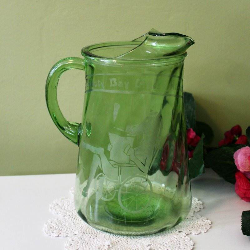 Water Pitcher Vintage Green Glass Beauty Bay Idaho Oldest Rider Horse Chair