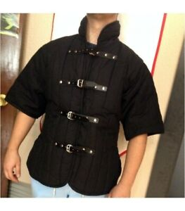 Medieval thick padded Black Gambeson reenactment SCA