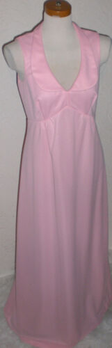 Vintage 1970 Prom Bride Pink Maxi Party Dress Slee