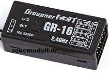 Graupner 33508 GR-16 HoTT Empfänger für 8 Servos, 2,4 GHz, telemetriefähig