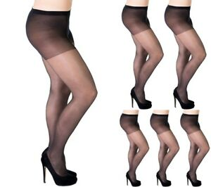 39a533f12 Aurellie Women + SIZE Sheer 20 Denier Black Lycra Tights (UK sizes ...