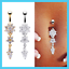 Fashion-Crystal-Flower-Dangle-Navel-Belly-Button-Ring-Bar-Body-Piercing-Jewelry thumbnail 1