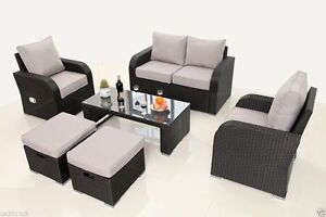 9 Seater Rattan Garden Furniture Set Sofa Recliner Chairs Coffee