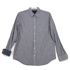 Banana-Republic-Slim-Fit-Chemise-Homme-L-large-gris-a-rayures-a-manches-longues-Flip-Cuff