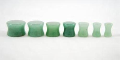 "Pair Organic Green Aventurine Jade Natural Polished Stone Ear Plug Saddle 4G 1/"""