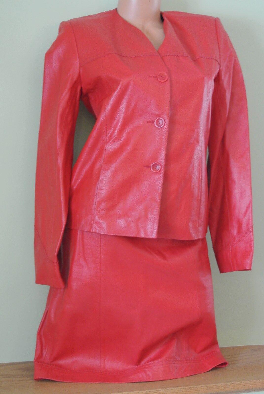 Para Mujer 100% Cordero  De Cuero Rojo Traje 2 Piezas De Dana Buchman falda chaqueta Botones En El Sm  compras de moda online