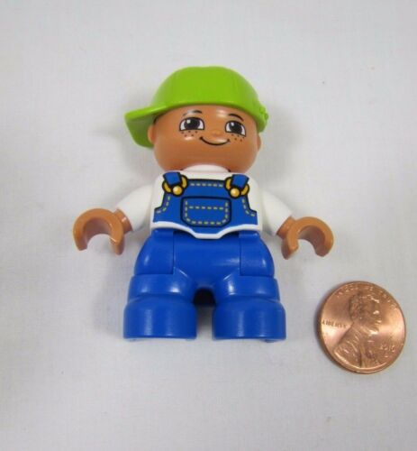 """LEGO DUPLO BOY TODDLER CHILD in Overalls 1.75/"""" FIGURE for FAMILY HOME HOUSE #2"""