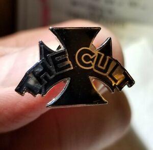 THE-CULT-Black-Cross-ENAMEL-Die-Cut-PROMO-PIN-Button-Badge