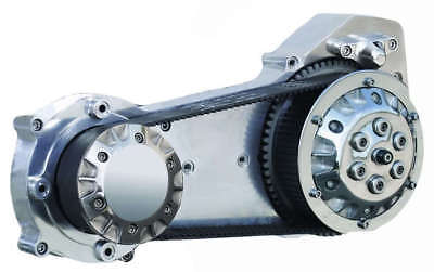 "Polished Motor Plate Assembly for Ultima 2/"" and 3.35/"" Softail Open Belt Drives"