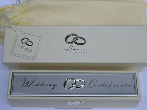 Amore Wedding certificate box wooden ring holder engagement present couples gift