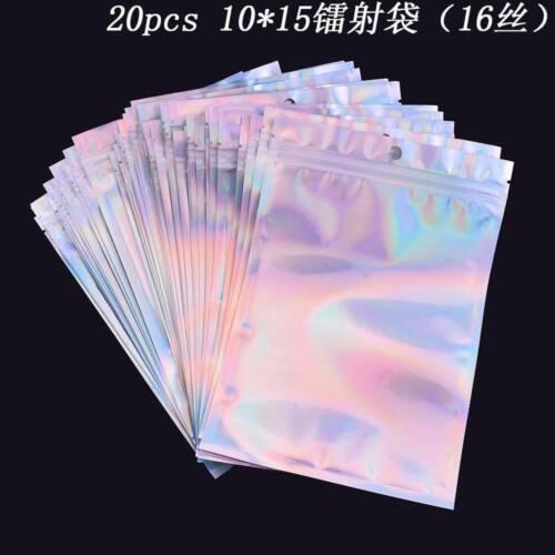 20 pcs Hologram Aluminum Foil Zip Bags Flat Plastic Bags Free Shipping