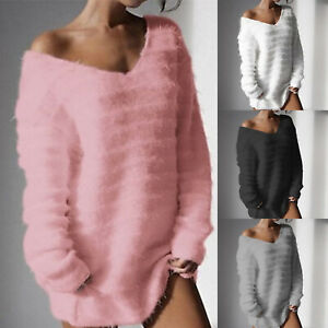 Women-Fluffy-V-Neck-Sweater-Loose-Jumper-Ladies-Long-Sleeve-Pullover-Tops-Blouse